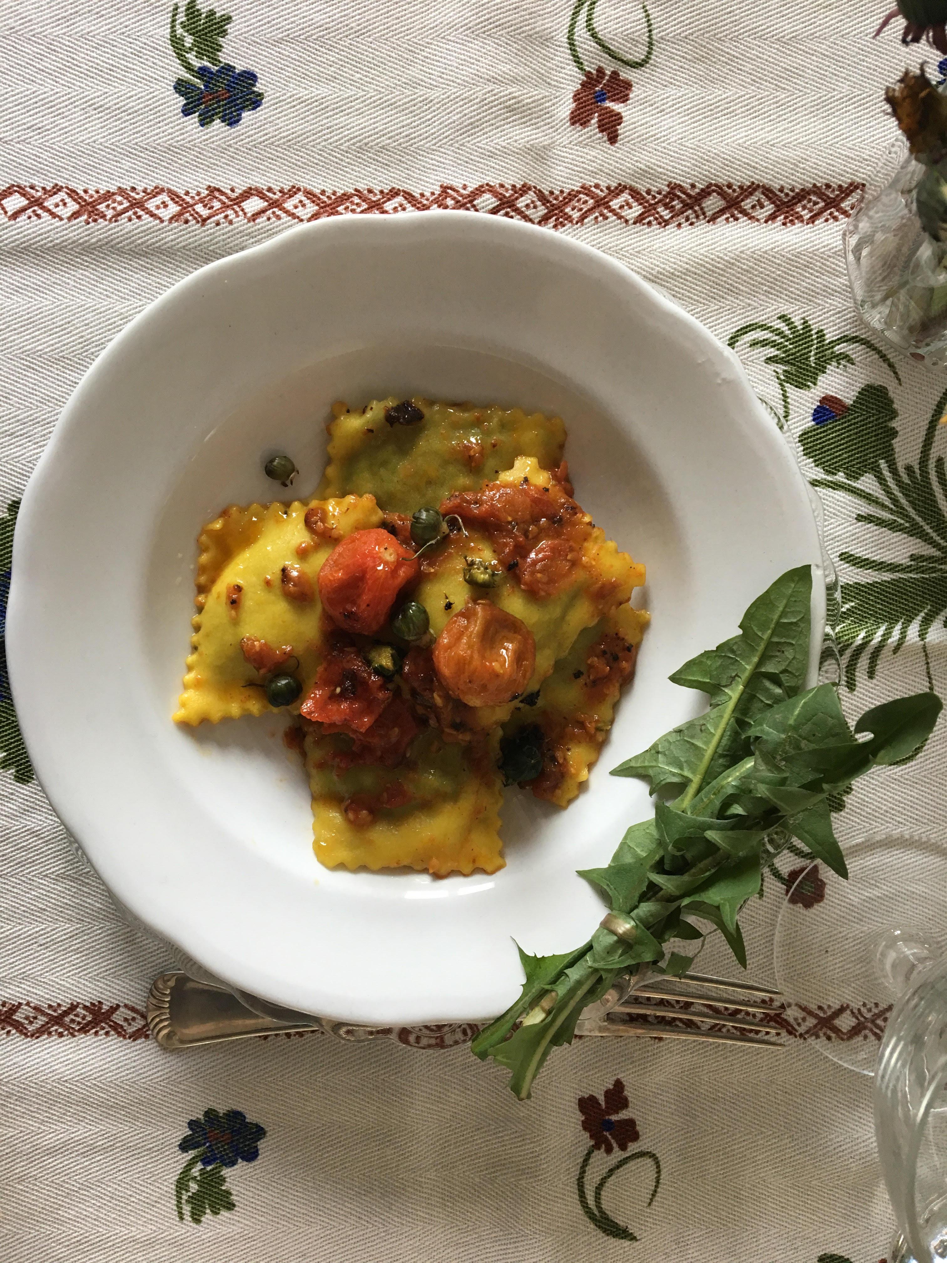 Tortelli Vegan di Tarassaco e pomodorini Confit