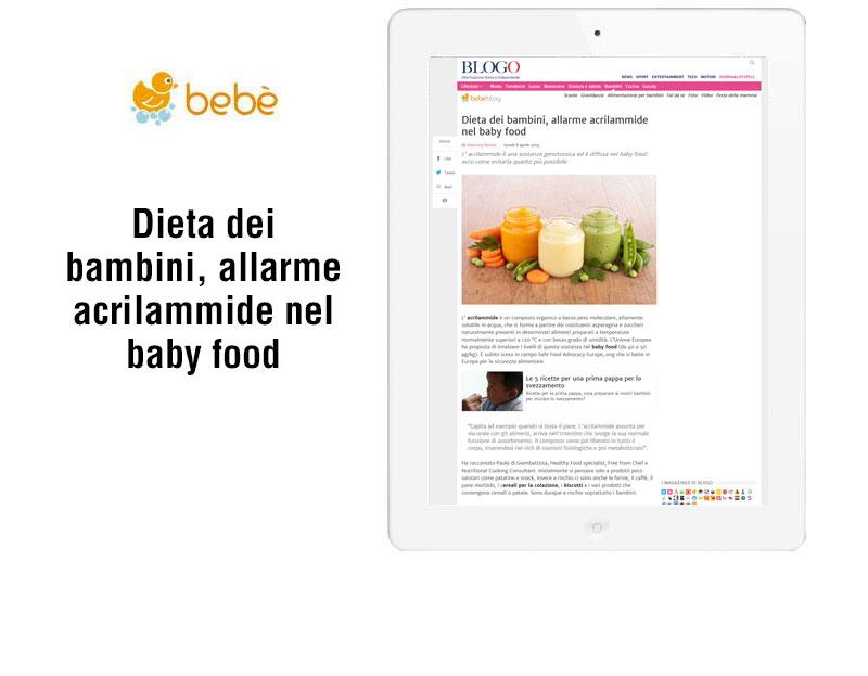 Dieta dei bambini, allarme acrilammide nel baby food