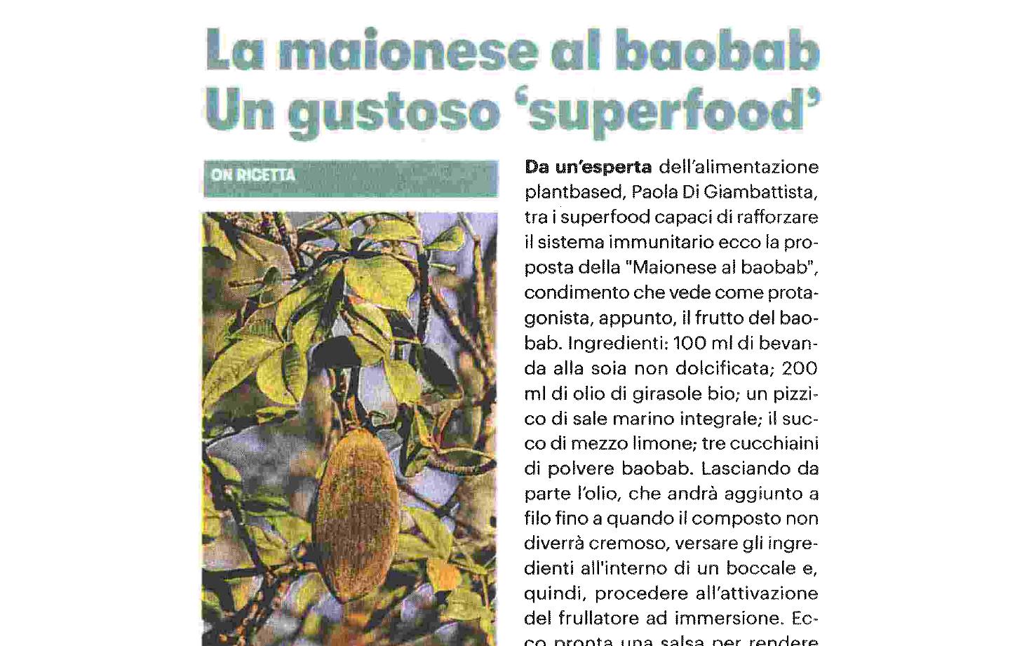 La mayonese al Baobab, la mia ricetta su Il Giorno