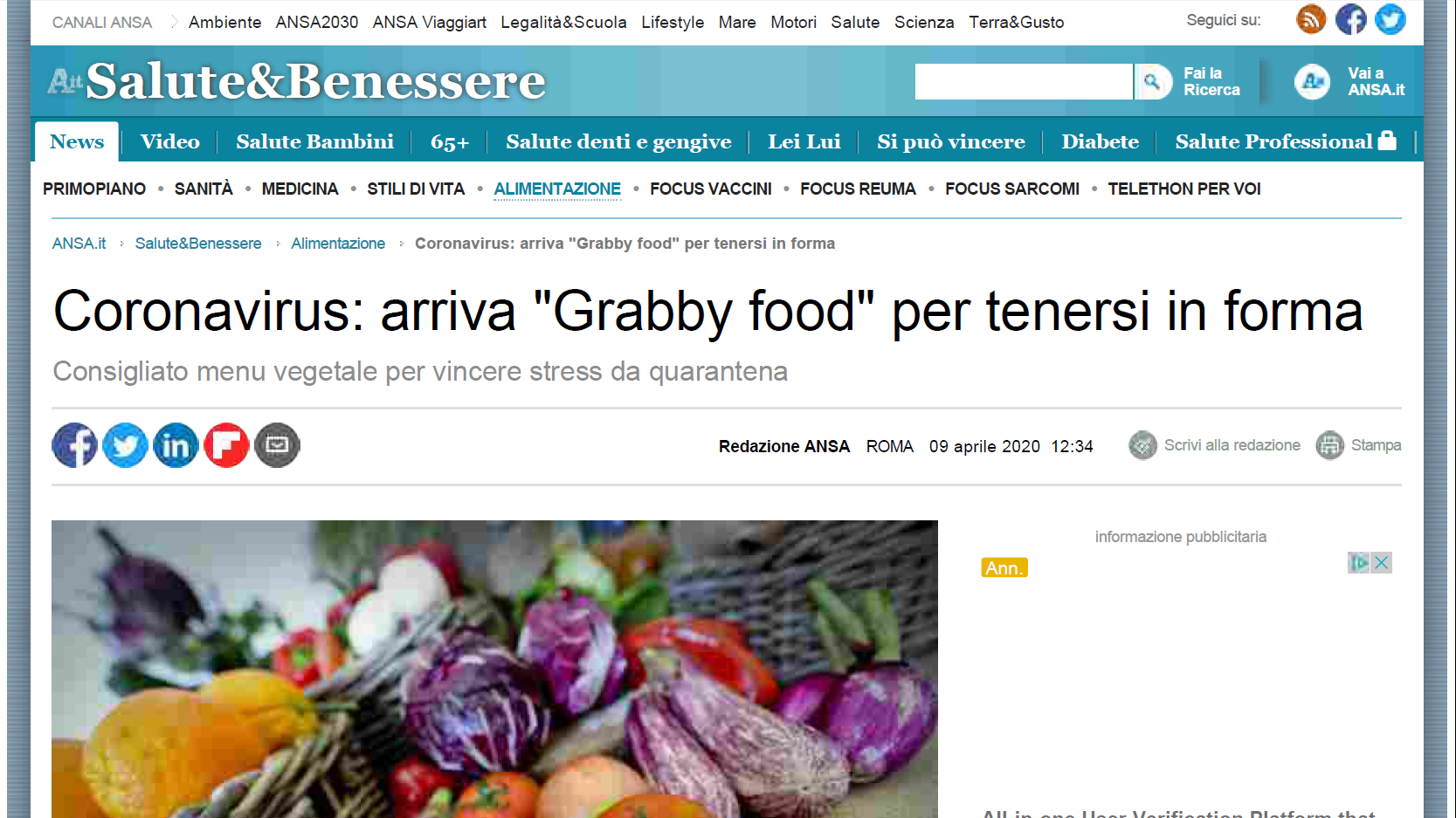 """Grabby food"" per tenersi in forma – Ansa.it"
