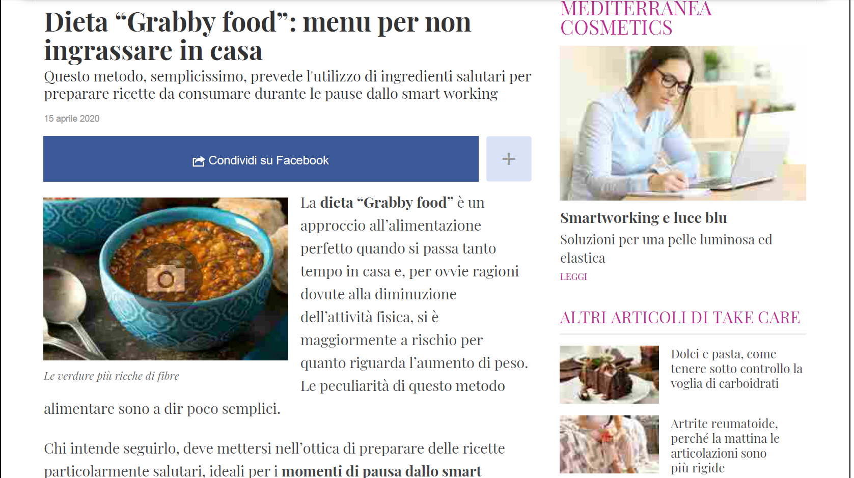 """Grabby food"": menu per non ingrassare in casa – DiLei.it"